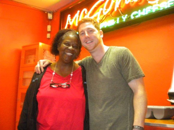 Brian McGonagle with regular customer Kyle