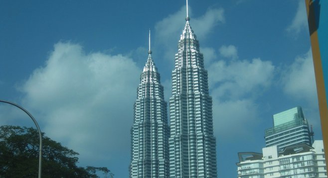 Kuala Lumpur's Petronas Towers (now the second-tallest buildings in the world)
