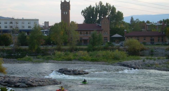 Kayakers near downtown Missoula