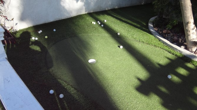 Putting green at a Hillcrest residence. Oops, my shadow got in the shot.