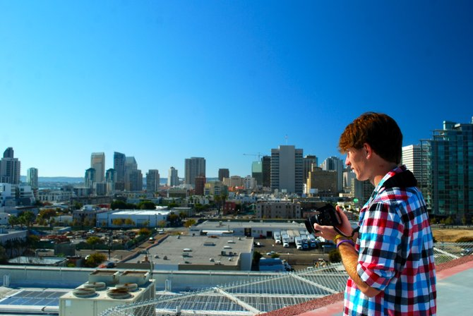 Looking over the city with camera in hand from the helipad on top of San Diego Police Headquarters.