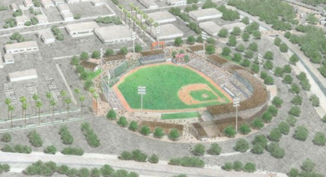 Pending a state supreme court ruling on redevelopment agencies, Escondido plans to build a $50 million minor league park for the Padres.