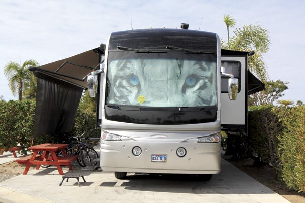 Luxury motor home at Chula Vista RV Resort next to San Diego Bay. Space rentals here are $1000 to $2000 per month.