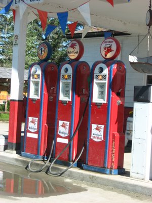 "Gas pumps still in operation at the four corners in Gustavus. (Called the ""four corners"" ..."