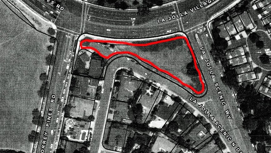The red outline shows the 3/4-acre site on which the center would be built.