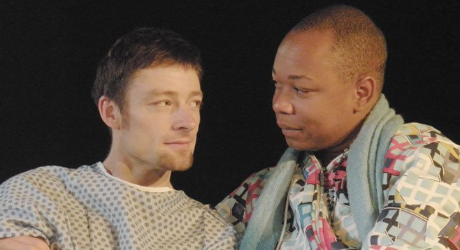 Kyle Sorrell (left) is the patient; Kevane La'Marr Coleman, the former drag queen