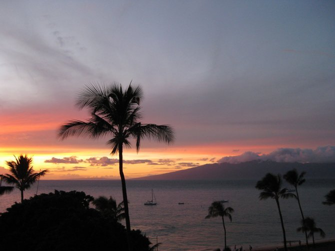 """Fall Sunset in Maui, Hawaii. You Can See the Island of Molokai n the Horizon..."" by: iolanda scripca"