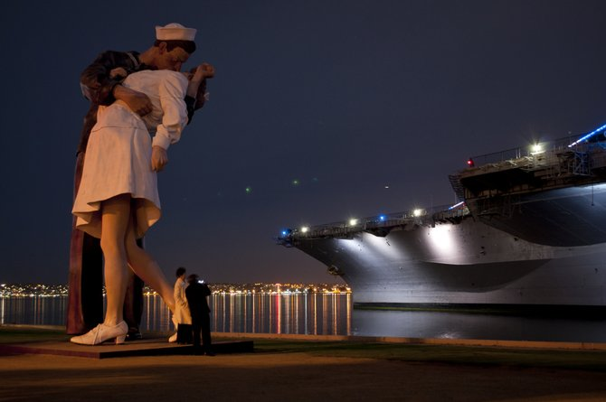 I took this picture at about 9 at night in front of the Midway,4 the night before Veteran's Day.