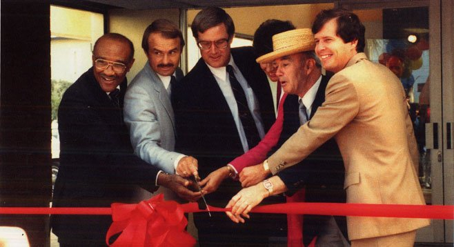 Mayor Greg Cox (center) and Councilmember David Malcolm (far right) dedicate trolley in 1986 with supervisors Leon Williams and Brian Bilbray and councilmembers Gayle McCandliss and Leonard Moore.