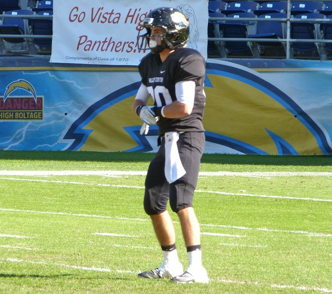 Valley Center defensive back Cody Gearhart awaits a Santana punt