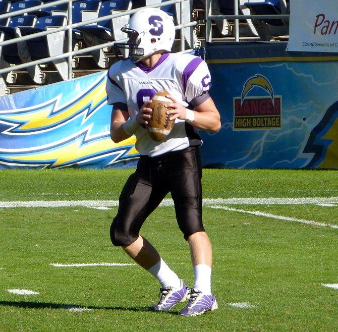 Santana quarterback Kyle Gasner looks downfield for a receiver