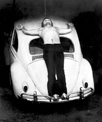 Chris Burden's Trans-fixed, a 1974 performance-art piece featuring him being nailed to a Volkswagen in Venice, CA