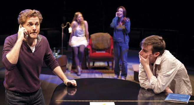 (from left) Jason Danieley as Ben, Jenni Barber as Young Molly, Michelle Duffy as Molly, and Andrew Mueller as Young Ben in Some Lovers