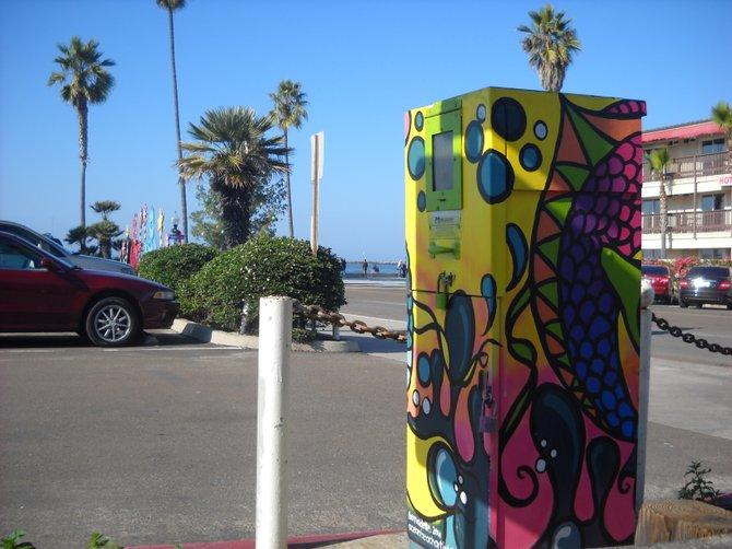 Utility box art work overlooking Ocean Beach parking lot.
