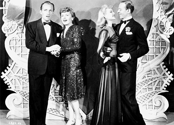 "Bing Crosby, Virginia Dale, Marjorie Reynolds, and Fred Astaire in Mark Sandrich's Holiday Inn,  the first of three movies to include Bing Crosby chirping ""White Christmas."""