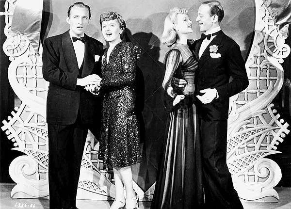 """Bing Crosby, Virginia Dale, Marjorie Reynolds, and Fred Astaire in Mark Sandrich's Holiday Inn,  the first of three movies to include Bing Crosby chirping """"White Christmas."""""""