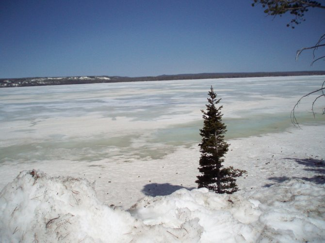 Frozen lake in Yellowstone National Park