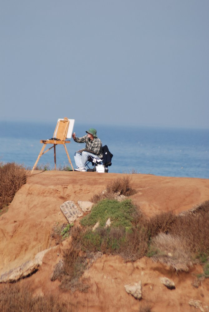 Shot this at Sunset Cliffs...picturesque view of a man with his easel.