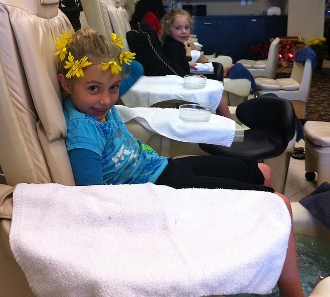 Bella and Olivia at the salon