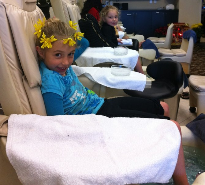 Bella and Olivia at the salon