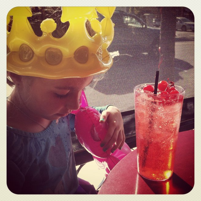 Bella with her Shirley Temple at Urban Mo's