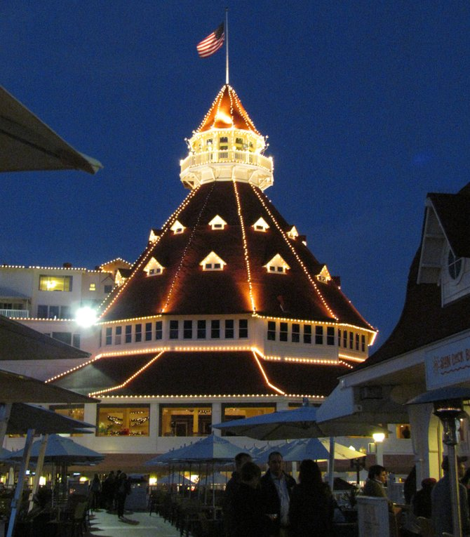 The del Coronado decked out for Christmas.  December 2011.