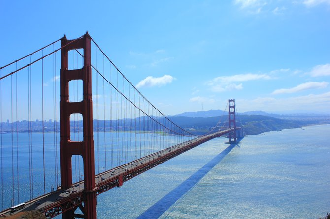The Golden Gate Bridge as seen from the Marin Headlands on the north side of the bay.