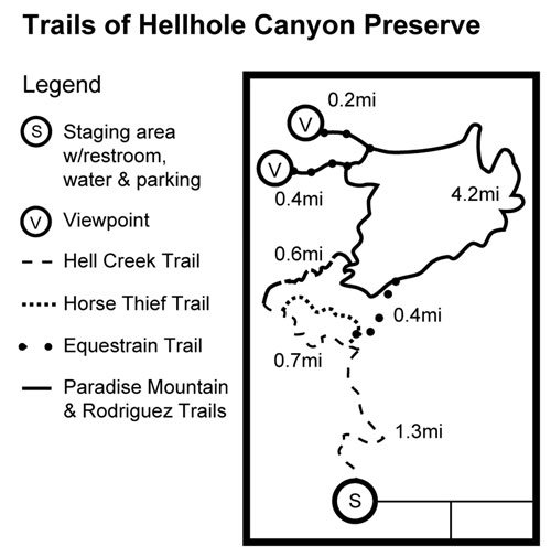 Map to Hellhole Canyon.