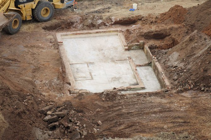 Beech and Kettner construction site. Closeup of a foundation that was uncovered.