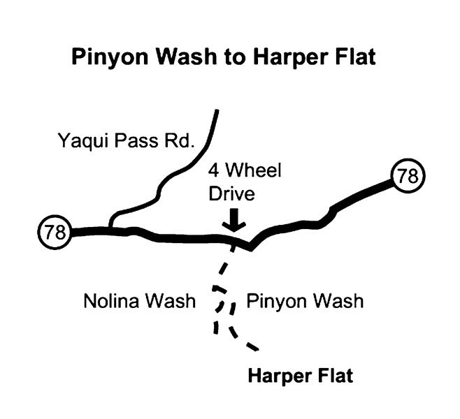 Pinyon Wash/Harper Flat hike map