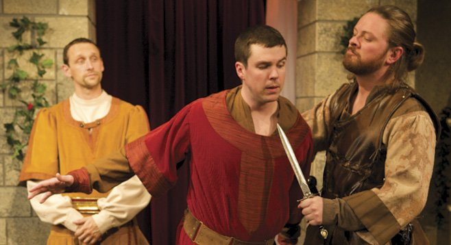 Jason Maddy, Kyle Roche, and Richard Baird in North Coast Rep's Lion in Winter
