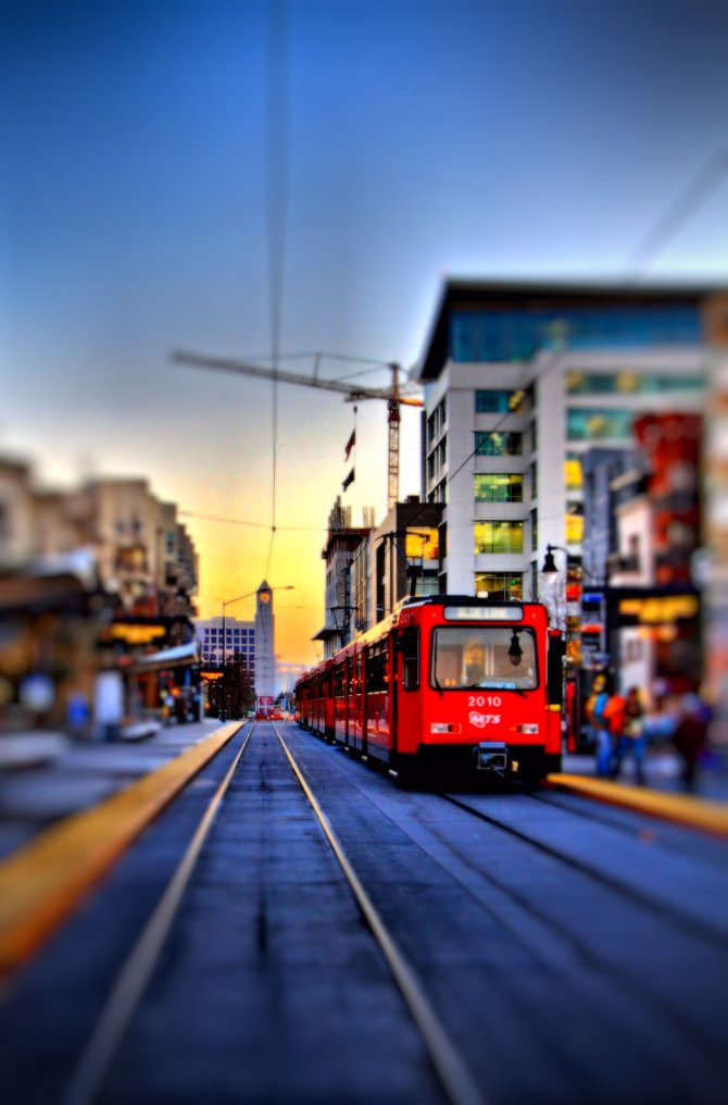 Trolley Station at Market and Park. Downtown San Diego, CA