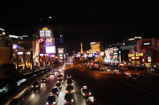 The Las Vegas Strip is still alive in the wintertime.