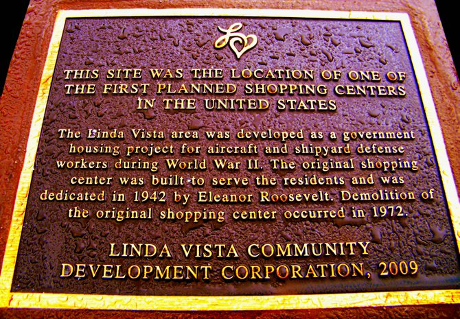 Commemorative plaque in Linda Vista of the first planned shopping center in the US.
