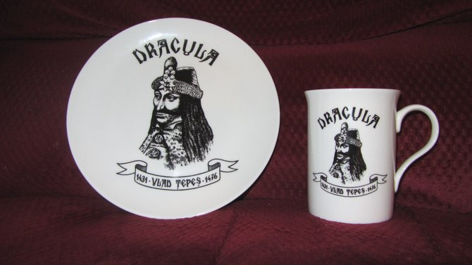 My Bone China Souvenir Set Brought From Romania depicting Vlad The Impailer, the cruel Romanian Ruler, who inspired Bram Stoker to write his novel Dracula in 1897. www.scripca.com