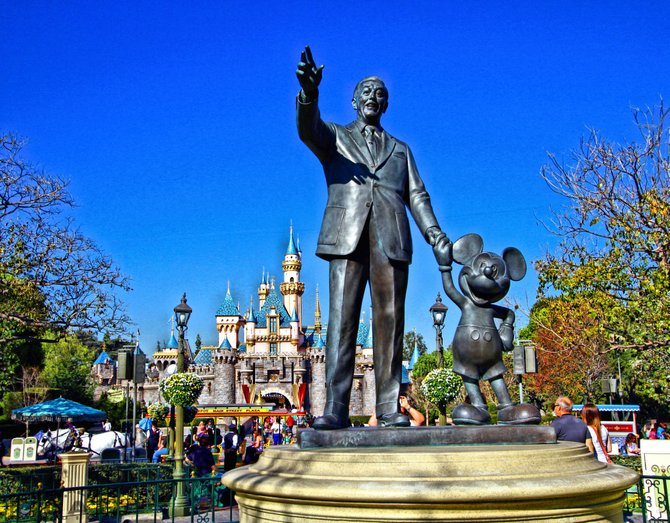 Statue of Walt and Mickey at Disneyland.