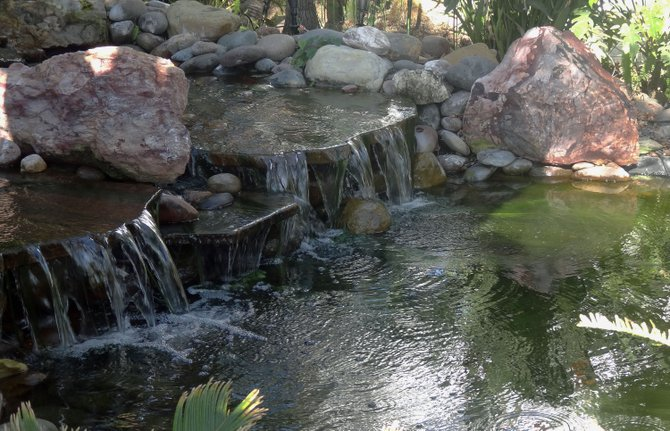 This is a cool waterfall at a home on Mission Avenue in University Heights.