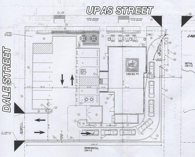 This drawing details corporate plans to expand the restaurant and move the entrance to Dale Street. Neighbors bitterly oppose the expansion.
