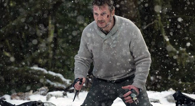 In The Grey, Liam Neeson plays a veteran, lone-wolf type who shoots wolves near Alaskan oil rigs.