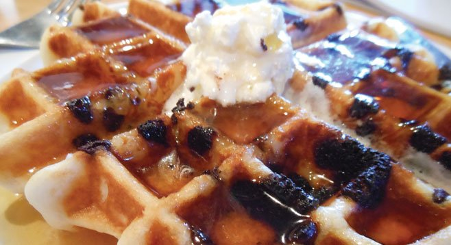 The waffle is a sticky, crunchy, chocolaty mess.