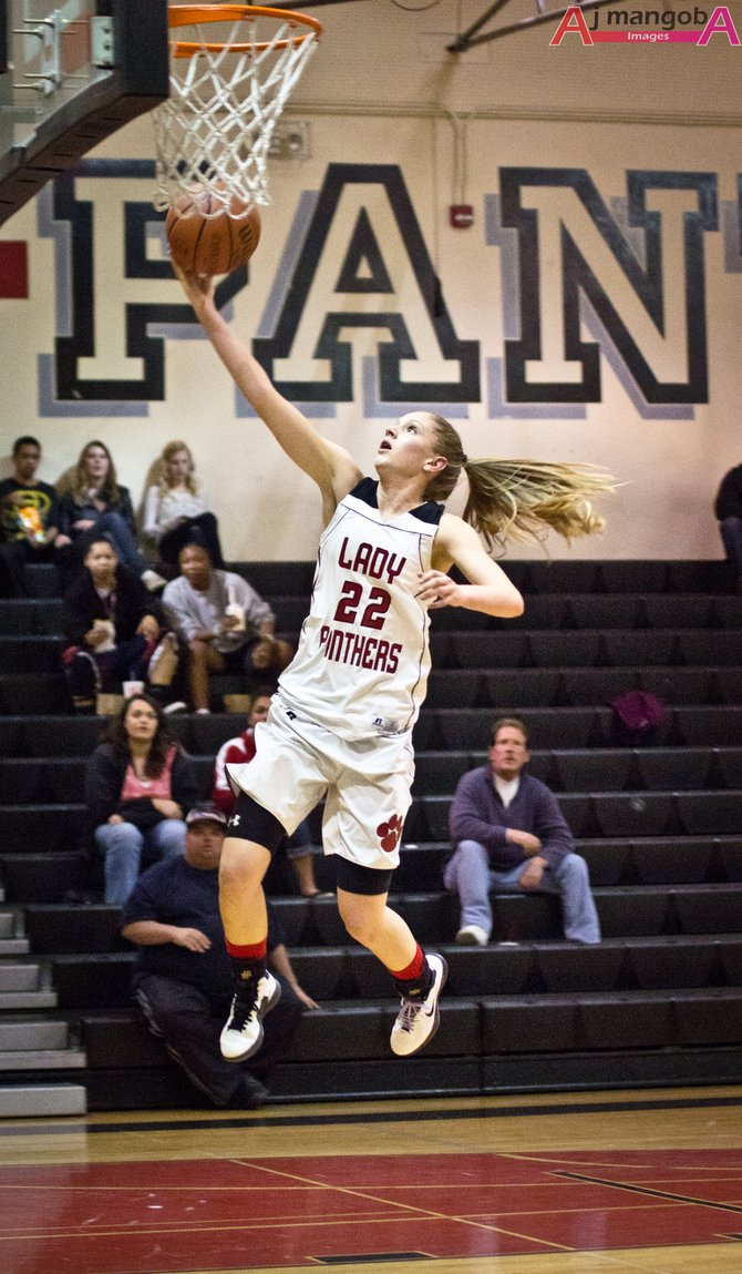Morgan Matteson of Vista High School goes up for a lay-up