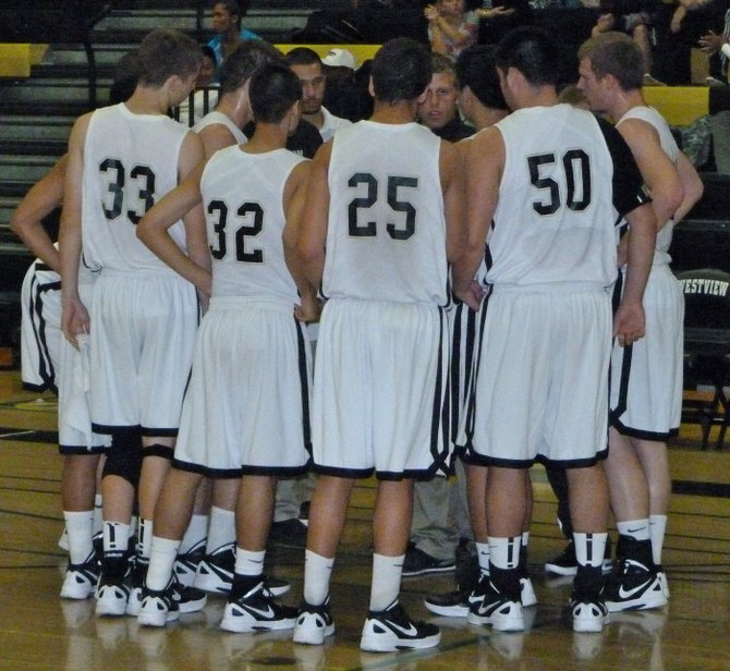Westview huddles during a timeout