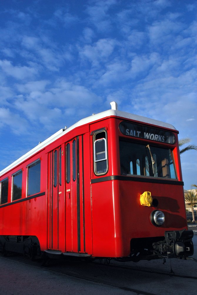 The restored trolley, Salt Works, that now rests in front of National City Depot.  Which is now operated by the San Diego Electric Railway Association. The Depot is located at the corner of Bay Marina Drive and Marina Way in National City.