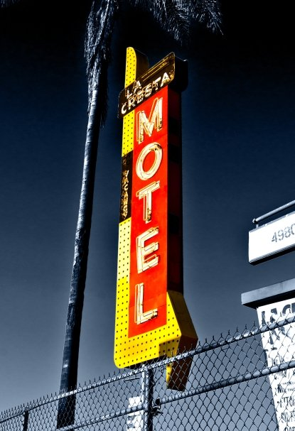 "I drive by this sign all the time and it always catches my attention.  The ""La Cresta Motel"" in City Heights."