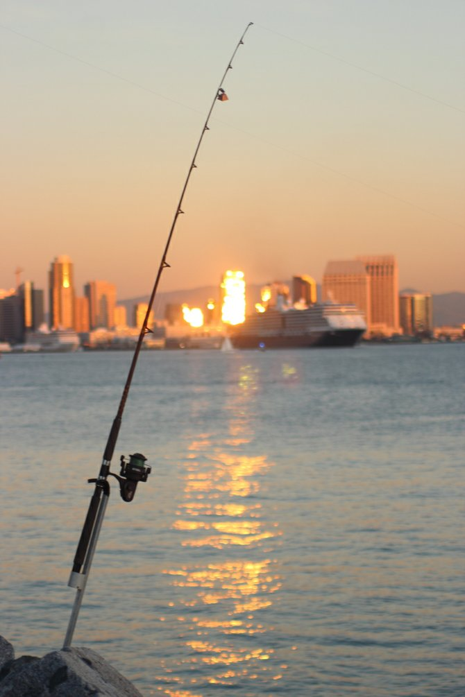 I call this...Hooked on San Diego !! taken from Harbor Island as the sun was setting.