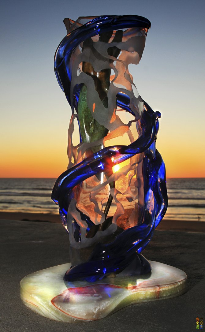 "A picture of my sculpture ""Beauty in Blue Sunset"" in Imperial Beach."
