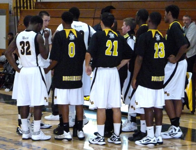 Mission Bay in the huddle during a timeout