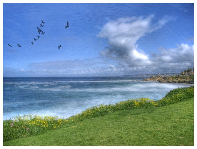 This La Jolla coastline shot was taken in the morning.  Took 15 photos  at f/18 from 1/25-1/500 sec to combine into this HDR, then added a painterly texture.