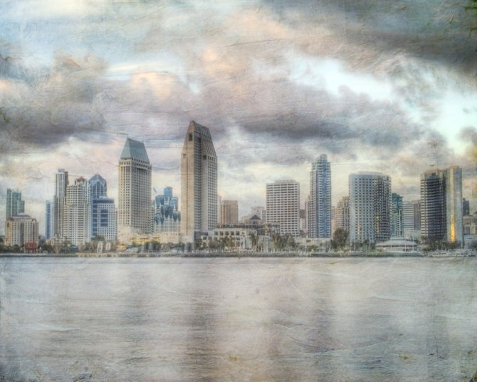 San Diego's skyline taken from Coronado around sunset.  Took about ten photos to create an HDR and added a little painterly texture.
