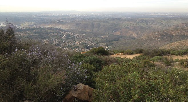 Looking down Mission Gorge from Cowles Mountain toward the ocean